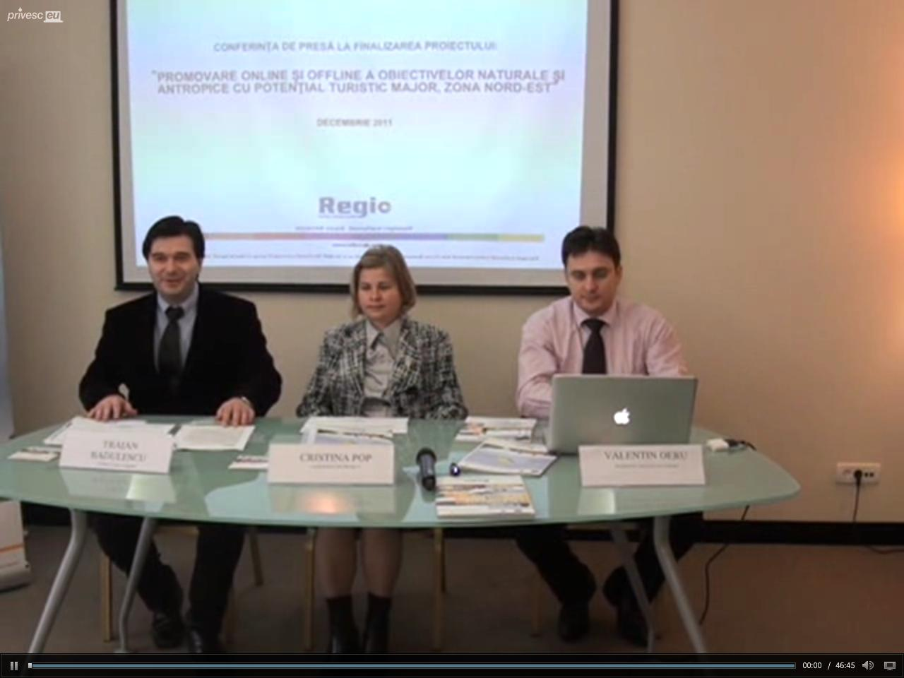 """Conferinţa de presă cu tema """"Promovarea online şi offline a obiectivelor naturale şi antropice cu potenţial turistic major, zona Nord-Est"""""""