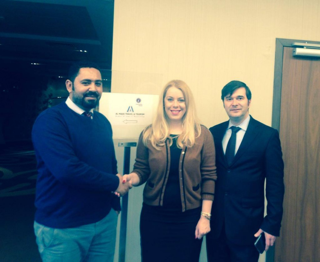 From left to right: Amer Ali Mohammed, inbound & outbound manager of Al Majid Travel, Raluca Repanovici, Traian Bădulescu, managing partners Innovation Travel
